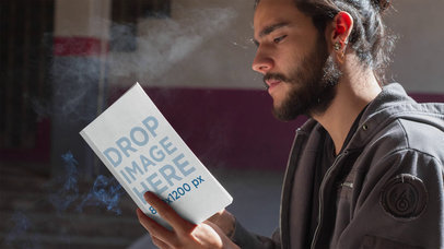Young Trendy Man Smoking While Reading A Book Stop Motion Mockup a13781