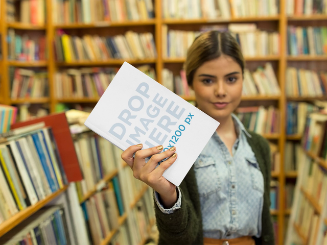 College Girl Playing With A Book In A Library Stop Motion Mockup a13745