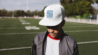 Stop Motion Of A Trendy Guy Wearing A Hat At A Football Field Mockup a13695