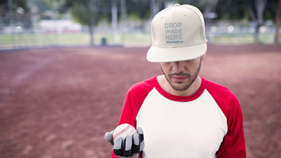Stop Motion Mockup Of A Guy Wearing A Hat At A Baseball Field Playing With The Ball a13696