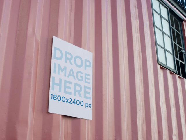 Video Mockup Of A Flyer Glued To A Container Wall a13772