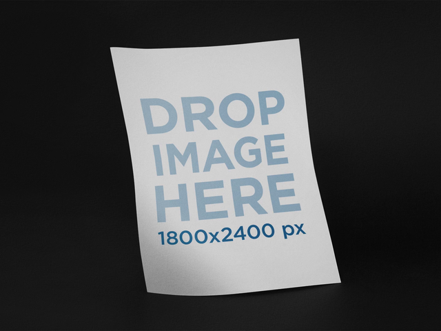 Floating Flyer Over Black Background Stop Motion Mockup a13634