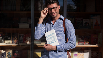 Hipster Man Carrying A Book While Outside The Library Stop Motion Mockup a13683