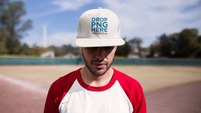 Stop Motion Mockup Of A Young Hispanic Man Turning 360 Grades Wearing A Hat At A Baseball Field a13690