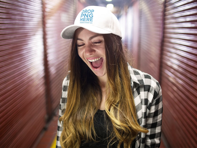 Young White Girl Wearing A Hat While Having Fun At A Hallway Stop Motion Mockup a13702