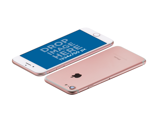 Pink iPhone On Landscape Position Front And Back Floating Angled Over A Transparent Surface Mockup a14105