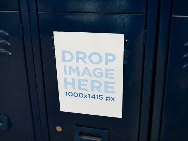 Video of a Flyer Glued to a Blue Wall of Lockers Mockup a13977