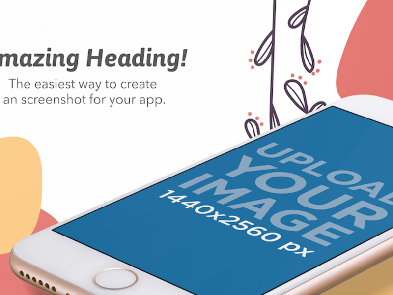 App Store Screenshot Generator Golden iPhone Floating Over Transparent Surface In Landscape Position