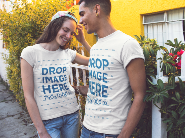 Young Dude and Girl Wearing Same T-Shirts While Hanging out near a House Front Yard Mockup a13459