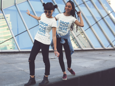 Two Girls Playing While Wearing Same T-Shirts Mockup a13384