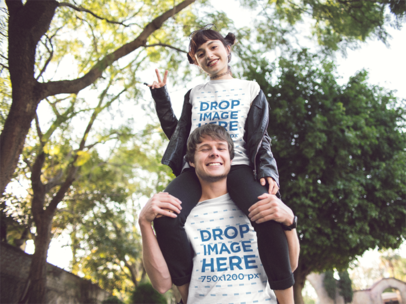 Beautiful Happy Couple Wearing Matching Tshirts While Hanging Around In The Park Template a13393