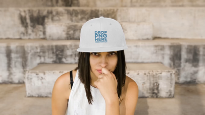 Trendy Girl Wearing a Snapback Hat While Sitting in Stairways Making Faces Template Video a14202
