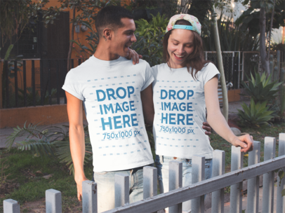 Couple Having Fun While Wearing Same T-Shirts in a Natural Environment Mockup a13490
