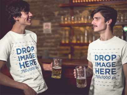 Template of Two Friends Having Fun While Drinking Beer and Wearing Matching Round Neck Tees at a Bar a13410