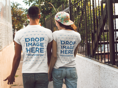 Young Couple Talking While Walking in the City Mockup a13493
