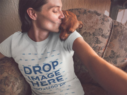 Selfie Mockup of a Blonde Girl Kissing Her Dog While Wearing a Round Neck Tee a13626