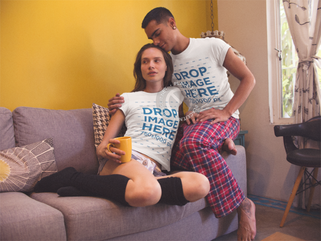 Man and Woman Drinking a Coffee While Sitting on Their Sofa Wearing Matching Tshirts Template a13449