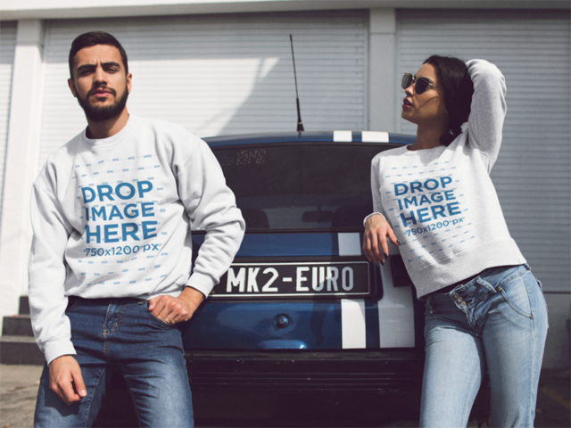 Couple Wearing Matching Crewneck Sweatshirts While Hanging Out Outdoors Near a Vintage Car Mockup a13430