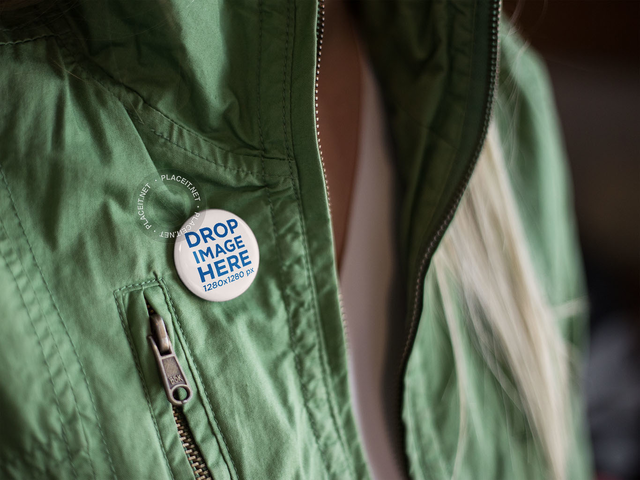 Button on a Girls Green Jacket Mockup a14281