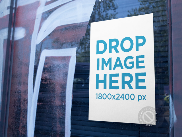 Mockup of a Poster on a Closed Store Window a14396