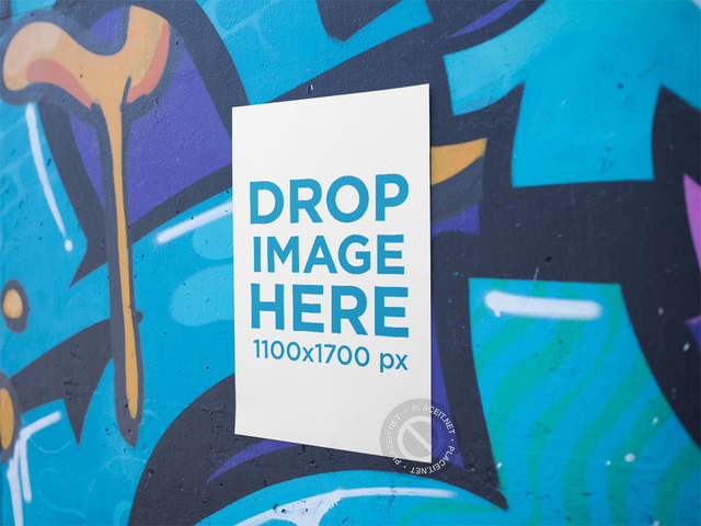 Vertical Poster on a Graffiti Wall Mockup a14411