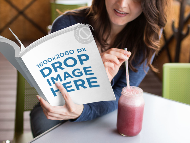 Hispanic Woman Reading a Book While Drinking a Strawberry Smoothie Template a14433