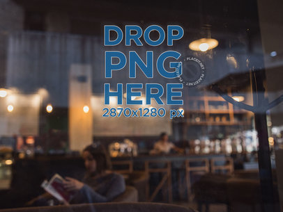 Decal Mockup on a Window at a Coffee Shop a14530-032817