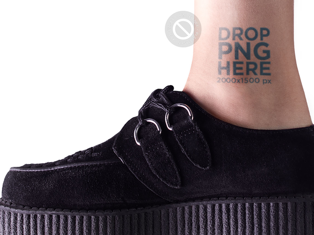 Tattoo Mockup on an Ankle While Wearing Black Platform Shoes Against a White Background a14492