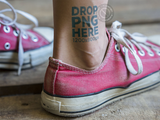 Tattoo Mockup on an Ankle While Wearing Pink Converse Shoes a14513