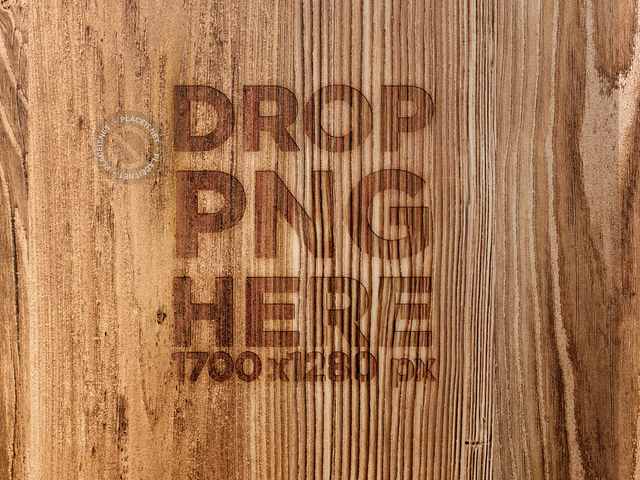 Mockup of a Burned Logo Into Vertical Grained Wood a14690