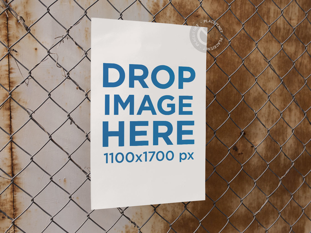 Poster on a Fence Against a Rusty Old Wall Template a14617