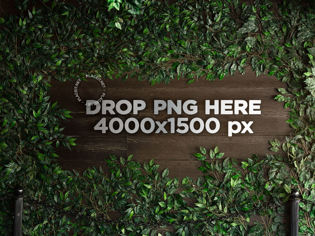 Metal 3D Logo on a Wooden Wall Surrounded by Plants Mockup a14546