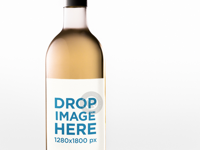 Placeit Closeup Label Template of a White Wine Bottle Against a