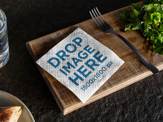 Napkin Mockup on a Small Wooden Board at a Restaurant a14749