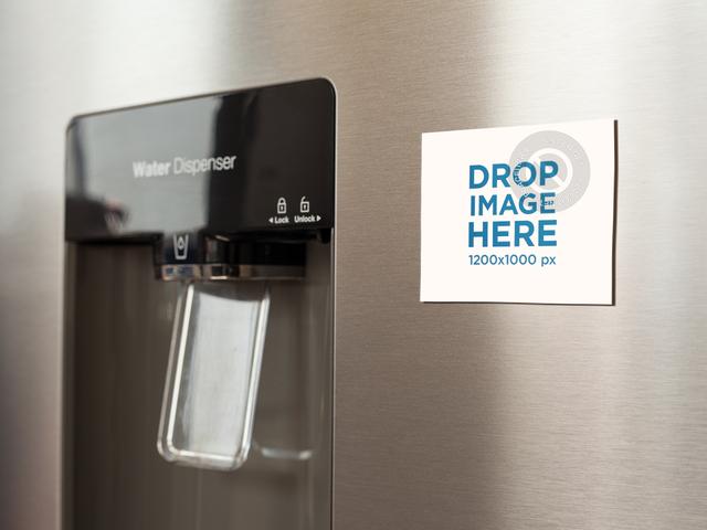 Placeit Fridge Magnet Mockup On A Metallic Near The Water Dispenser