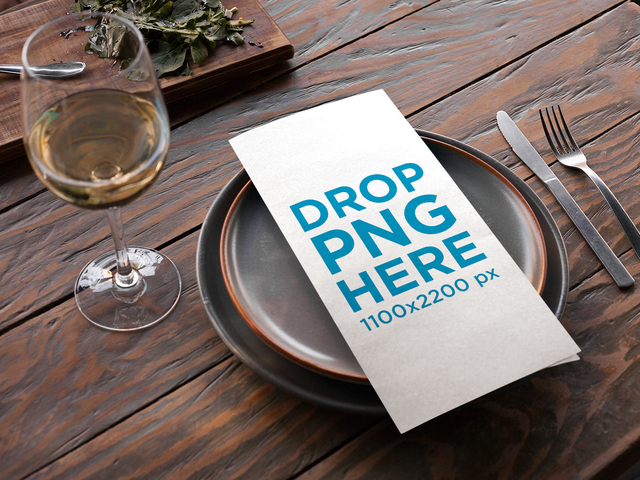placeit menu template lying over dishes near a glass of white wine