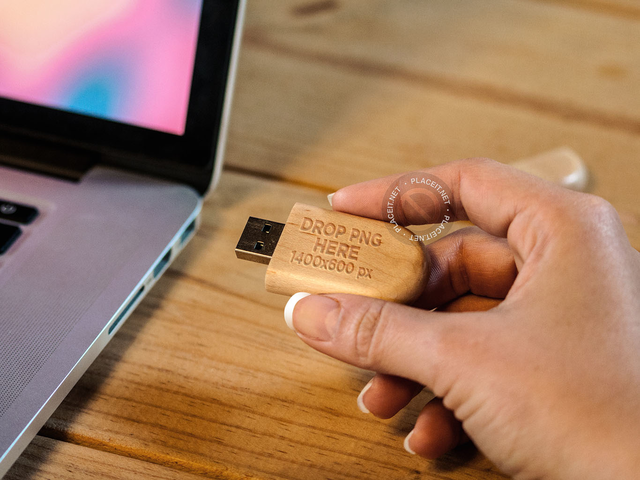 Woman About to Connect a Wooden USB Flash Drive to a Laptop a7579