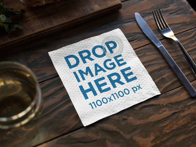 Placeit Napkin Template On A Dark Wooden Table Before Dinner