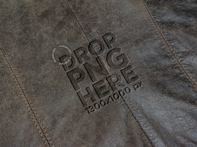 Logo on a Brown Leather Texture Template a14816