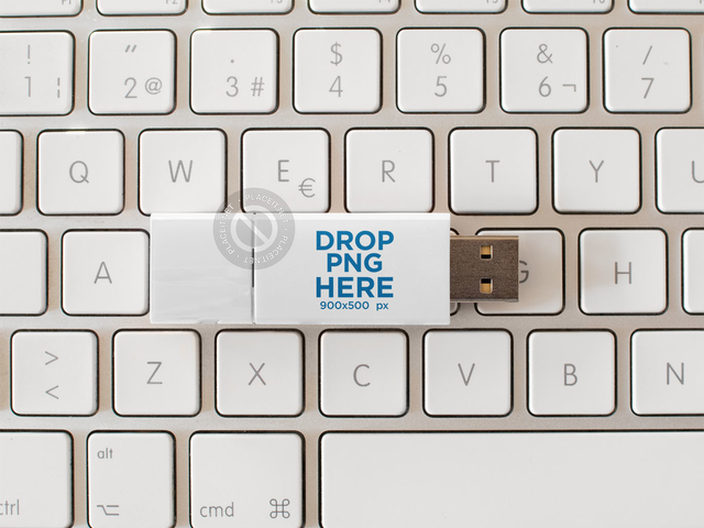 USB Flash Drive Template Lying Over a White Keyboard a14908