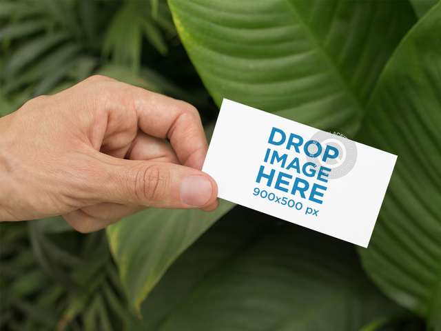 Man Holding a Business Card Mockup Near a Plant a15007