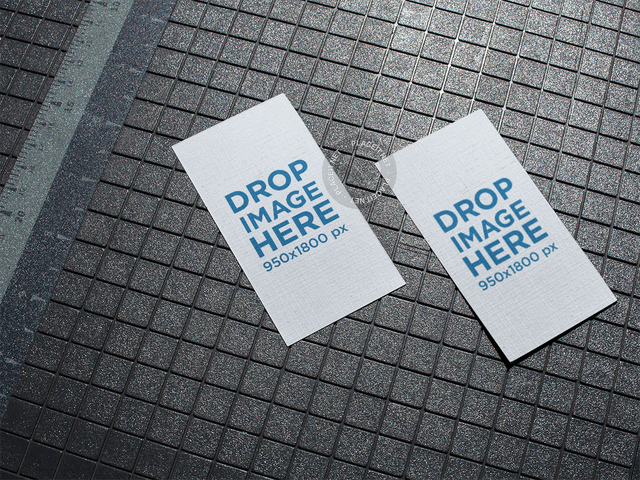 Business card t shirt mockup generator 5184 templates pair of vertical business cards mockup lying on a patterned floor reheart Images
