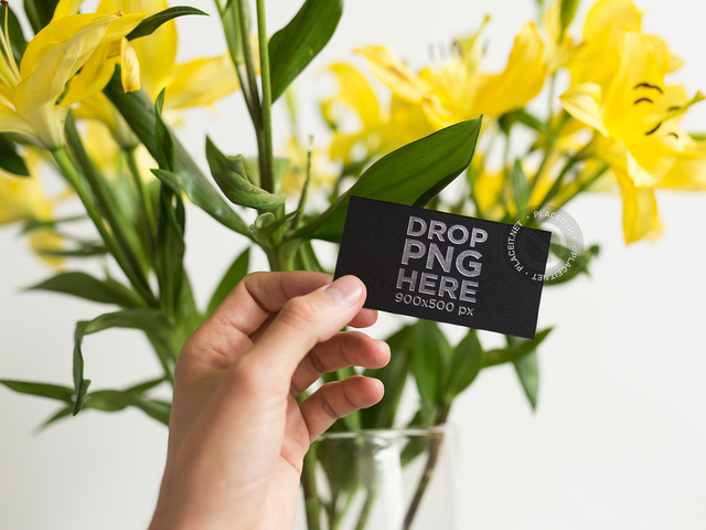 Foil Business Card Template Held Next to Yellow Flowers a15006