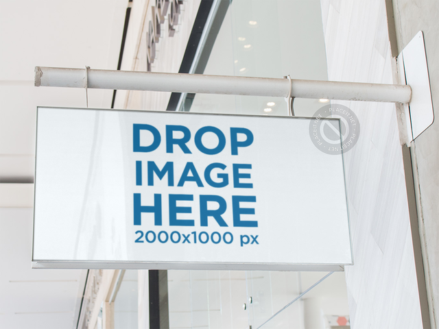 Sign Mockup Hanging from Outside a White Store at a Mall a15037