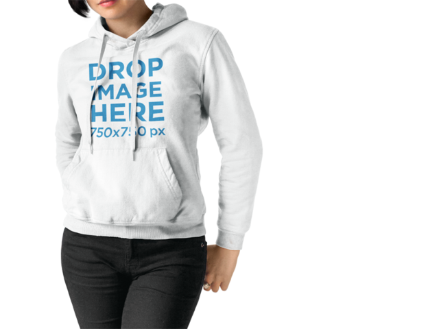 Mockup of a Girl Wearing a Pullover Hoodie While Standing Against a Transparent Backdrop a15155