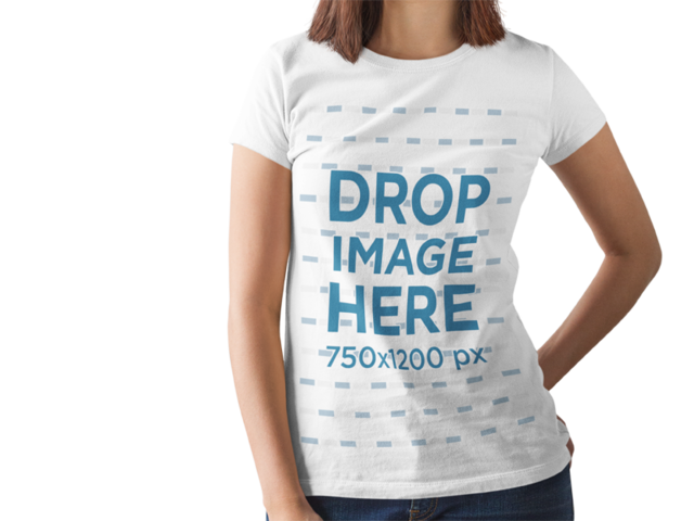 Short Haired Girl Wearing a Round Neck Tee Mockup While Standing Against a Transparent Background a15162