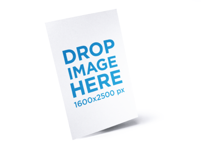 Flyer Template Floating Diagonally over a Solid Surface a15106