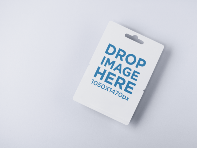 Angled Gift Card Mockup Lying on a Solid Surface a15080
