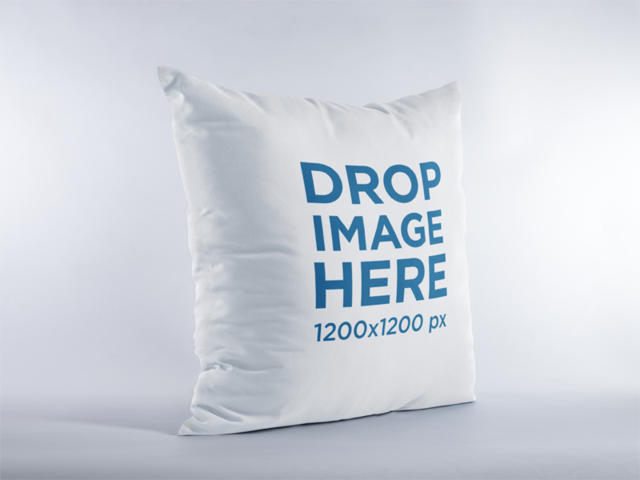 Mockup of a Square Pillow Standing in a White Environment a15112