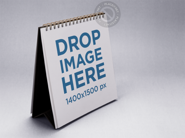 Calendar Mockup Standing on a Solid Color Surface a15218